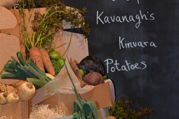 Boxe's of Green Lawn Organics with Farm Fresh Kavanagh's Kinvara Potatoes