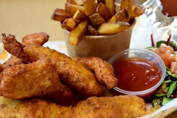 Chicken Goujons & Home Made Chips